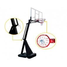 Deluxe Adjustable Portable Basketball Hoop/Stand with Tempered Glass backboard