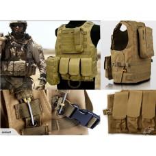 Airsoft military Combat Tactical Vest-Khaki