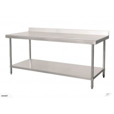 Stainless Steel Work bench with splashback 1.5m