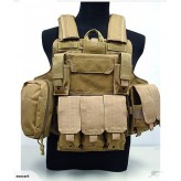 Heavy Duty Airsoft military Tactical Vest-Khaki