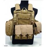 Heavy Duty Airsoft military Tactical Vest-Khaki
