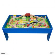 90 PIECE TRAIN SET WITH WOODEN TABLE-Free shipping