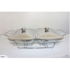 DOUBLE GLASS CHAFING DISH WARMER